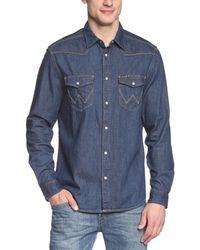 Wrangler Western Long Sleeve Classic Denim Shirt - Blue