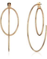 Guess Hoop Earrings With Inside Ring - Mettallic
