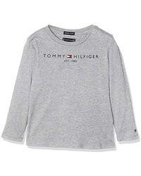Tommy Hilfiger Essential Hilfiger tee L/S Camisa Manga Larga para Niños - Gris