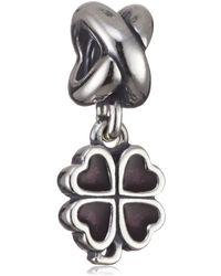 PANDORA Bead Kleeblatt 925 Sterling-Silber Emaille rosa-rot 790572EN07 - Mehrfarbig