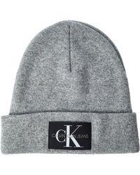 Calvin Klein J Basic Knitted Beanie Bonnet - Gris