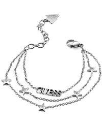 Guess Bracelet A Star Is Born Ubb70077-s Stainless Steel Rhodium Swarovski Triplex Stars - Metallic