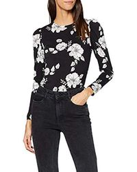 Dorothy Perkins Monochrome Puff Sleeve Floral Print Top Bluse - Schwarz