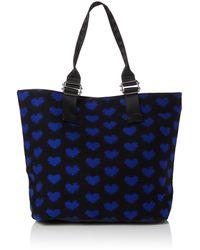 Dorothy Perkins S Blue Heart Shopper Tote Black