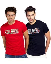 Guess - Tee Shirt Slim Col Rond Logo Frontal Photoshow - Lyst