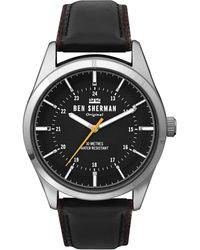 Ben Sherman Analog Quarz Uhr mit Leder Armband WB027B - Schwarz