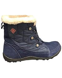 Columbia S Powder Summit Shorty Waterproof Boots Insulated Bootie, Size 5 Blue