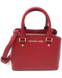 Michael Kors Mini Savannah XS Saffiano Leather Satchel Crossbody Bag (Scarlet) - Rosso