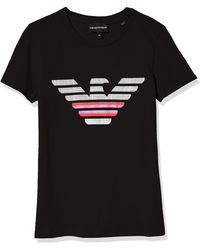 Emporio Armani Short-sleeved T-shirt With Maxi Floral Eagle - Black