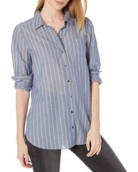 Goodthreads Cotton Dobby Long-Sleeve Button-Front Tunic Shirt - Bleu