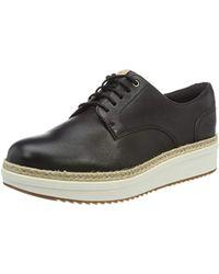 Clarks Teadale Rhea, Zapatos de Cordones Brogue para Mujer - Negro