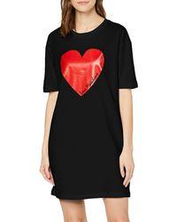 Love Moschino Short Sleeve Jersey Dress_Heart & Italic Logo Print Robe - Noir