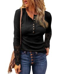 HIKARO S Black Causal Long Sleeve V-neck Slim Fiting Knitted Sweatshirts Ladies Button Up Tops Blouse T Shirt 's Slim Fit T Basic