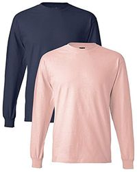 Hanes - Long-sleeve Beefy-t Shirt (pack Of 2) - Lyst