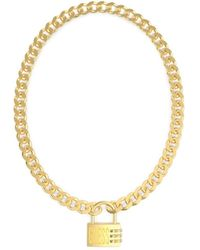 Guess - Collier Lock Me Up UBN20054 or cadenas en Acier plaqué logo cristaux Swarovski - Lyst