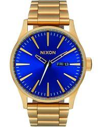 Nixon Armbanduhr Sentry Edelstahl All Gold / Blue Sunray - Blau