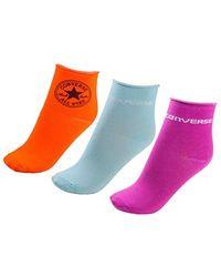 Converse Socks 3-pack Chuck Shortie Quarter In Orange - Multicolour