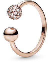 PANDORA Statement-Ringe Silber_vergoldet mit '- Ringgröße 56 187736CZ-56 - Mettallic