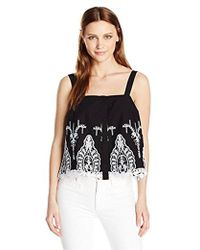 Guess - Sleeveless Genevive Embroidered Top - Lyst