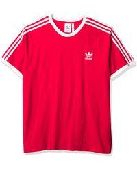 adidas Originals - Mens 3-stripes Tee Scarlet/red Xx-large - Lyst