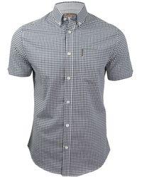 Ben Sherman S Gingham Check Shirt Short Sleeved - Blue