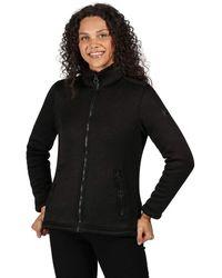 Regatta Razia Knit Effect Full Zip Fleece Sweater - Negro