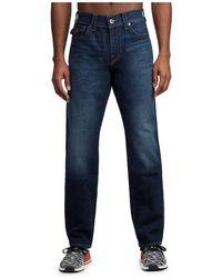 True Religion Geno Slim Straight Jeans and Back Flap Pockets - Blu