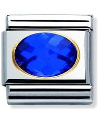 Nomination Composable Classic Gemstone Lapis Lazuli Oval Made Of Stainless Steel And 18k Gold - Blue