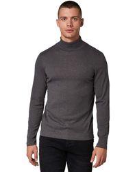 Tom Tailor - T-Shirts/Tops Langarmshirt mit Turtle-Neck Mid Grey Melange White Base,M - Lyst