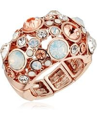"Guess ""basic"" Rose Gold Domed Multi-stone Adjustable Ring - Metallic"