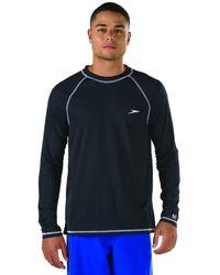 Speedo Upf 50+ Easy Long Sleeve Rashguard Swim Tee,black,large