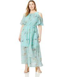 Calvin Klein Plus Size Cold Shoulder Maxi Dress with Self-Sash Waist Kleid - Blau