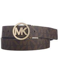 Michael Kors MICHAEL Reversible Belt with Gold-Tone MK Logo - Marrone
