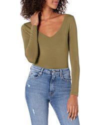 The Drop Patricia Long-sleeve Deep V-neck Second Skin Bodysuit - Green