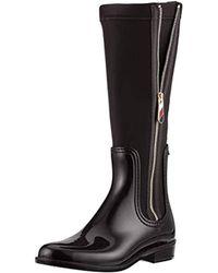 24dc8d9723fd Tommy Hilfiger Material Mix Rain Boot Wellington Black in Green - Lyst