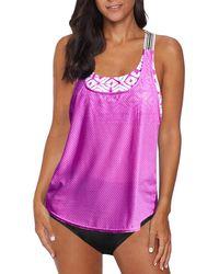 HIKARO Tankini Swimsuits For Two Piece Tankini Set With Bikini Bottom Bathing Suit Racerback Tank Tops Swimwear Purple Uk Size 14 16