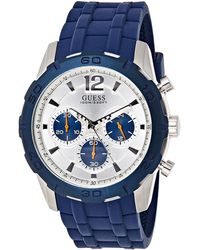 Guess Chronograph Quarz Uhr mit Silikon Armband W0864G6 - Mettallic