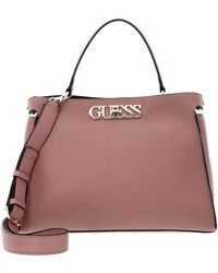 Guess - Uptown Chic Large Turnlock Satchel Rosewood - Lyst
