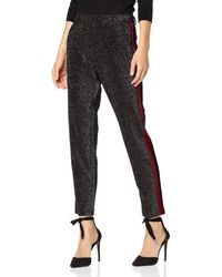 Scotch & Soda Maison Tapered Lurex Pants with Velvet Side Panel Pantaloni, - Nero