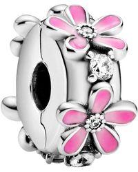 PANDORA Clip Charm 798809C01 femme émail argenté - Rose