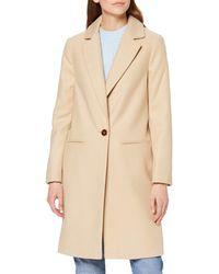 Miss Selfridge Camel Crombie Wool Blend Coat - Natural
