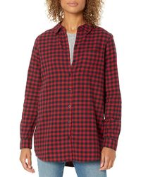 Goodthreads Brushed Flannel Boyfriend Tunic button-down-shirts - Rouge