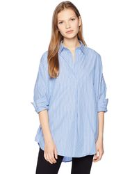 French Connection Rhodes Polin Light Weight Long Sleeve Oversized Shirt - Blue