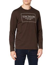 Tom Tailor - T-Shirts/Tops Langarmshirt mit Logo-Print delicioso Brown,XXL,23921,8000 - Lyst