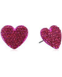 Betsey Johnson - S Fuchsia Heart Stud Earrings - Lyst