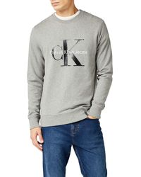 Calvin Klein - Crewneck HWK Sudadera, Hombre, Gris (Mid Grey Heather), XS - Lyst
