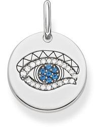 Thomas Sabo Pendant Love Bridge 925 Sterling Silver Blackened Zirconia White Blue Lbpe0009-644-32 - Metallic