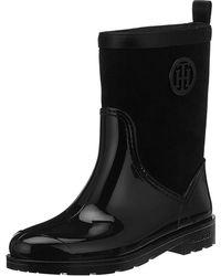 Tommy Hilfiger Warmlined Suede Rain Boot, Bottes & Bottines de Pluie Femme - Noir