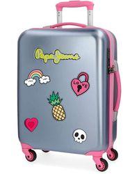 Pepe Jeans Liberty Grey Cabin Suitcase 38 X 55 X 2 Cm Rigid Tsa Lock 33 Litre 2.6 Kg 4 Wheels Hand Luggage - Multicolour