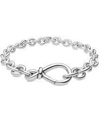 PANDORA Kräftiges Unendlichkeitsknoten Gliederarmband aus Sterling-Silber - Mettallic
